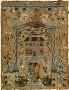 ♒ Enchanting Embroidery ♒ Sampler, 1786. Medium: silk, linen, metal-wrapped silk, hair, metal strips Technique: embroidered using cross, tent stem, satin, and rococo (queen) stitches on plain weave.