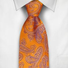 Groom and groomsmen Haggar Paisley Tie- purple and orange wedding