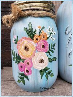 Mason Jar Art, Mason Jar Crafts, Wine Bottle Crafts, Bottle Art, Tampons En Mousse, Cute Crafts, Diy Crafts, Upcycled Crafts, Sewing Crafts