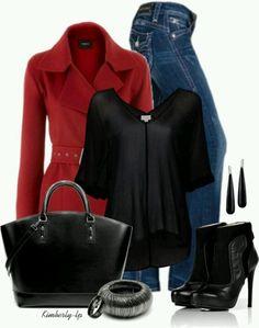 Rojo y negro con jeans. Bonita combinación