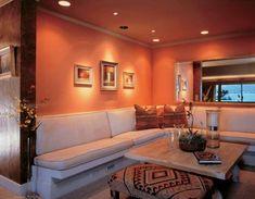 Colore pareti di casa, abbinamenti - Pareti salmone del soggiorno