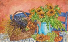 Title: Sunflower  Created year: 2011  Technique: Aquarelle   Painting started in the car driving home from St.Cyprien