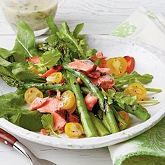 25 Fresh Spring Salads | Grilled Salmon-and-Asparagus Salad | CoastalLiving.com