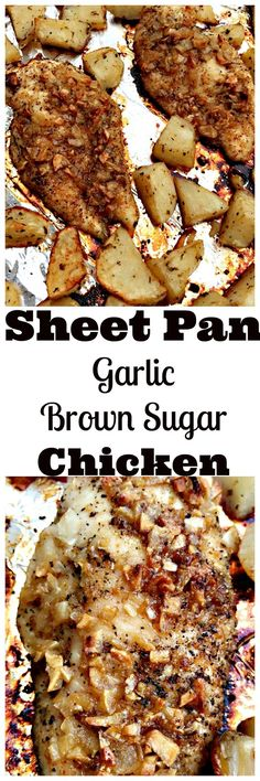 Sheet Pan One Pan Baked Garlic Brown Sugar Chicken with Roasted Potatoes is a quick and easy recipe perfect for weeknight dinners. Perfect for meal prep. This dish is high in protein.
