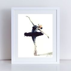 Black Swan Ballerina Feather Tutu Swan Lake Fine Art Giclee Print of Watercolor 8 x 10, 11 x 14 inches Poster Natalie Portman The Red Shoes Black Plumes Jewelry Box Gift for Her under 25. Giclee print of Original Watercolor Painting of a graceful Swan Lake ballerina, in dark feather costume, with classical stage tutu and arms outstretched. Point shoes are on and pale pink satin ribbons tied around delicate ankles. Truly a ballerina graceful enough to twirl around a jewelry box or a stage...