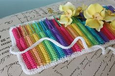 Rainbow crochet hook roll-up