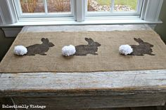 Make a Burlap Bunny Table Runner for Easter - with FREE graphic for stencil! kellyelko.com