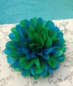 Peacock  1 Mix Tissue Paper Pom ... baby shower / wedding / party decor / birthday / bridal shower / nursery
