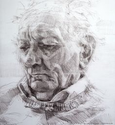 Colin Davidson.............Study of Brian Friel  2010 crayon on paper 62 x 57 cm