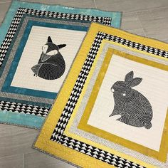 Pair of quilts made for twin babies using large panel pieces from Thicket fabric by Gingiber for Moda.