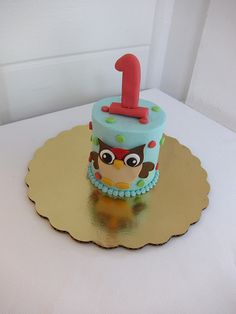 owl smash cake-close to what I'll do for Ethan's bday