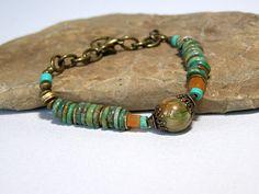 Turquoise Bracelet  Beaded Bracelet  Tribal by StoneWearDesigns, $48.00
