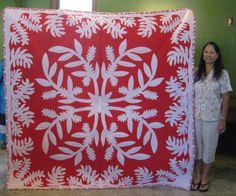 Laua'e and Ginger Hawaiian Quilt Patterns, Hawaiian Pattern, Hawaiian Quilts, Quilting Projects, Quilting Designs, Two Color Quilts, Red And White Quilts, Applique Quilts, Applique Designs