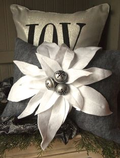 Christmas pillow poinsettia lumbar grey wool by TheBurlapCottage, $45.00