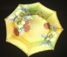 SOLD! Nippon-Octagon-Candy-Dish-Gold-Moriage-Beaded-Edge-Fruit-Flowers-Japan