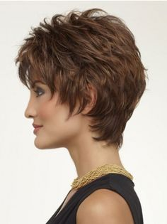Beautiful Brown Wavy Synthetic Short Wigs, African American Short Wigs, Short Wavy Wigs