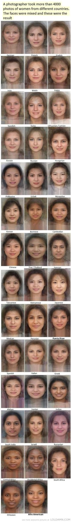 face from women from different countries Average face from women from different countries - Awesome!Average face from women from different countries - Awesome! Average Face, Average Person, Average Girl, Wow Photo, Different Countries, The More You Know, Cool Stuff, Belle Photo, Mind Blown