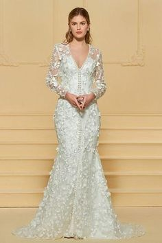 dd7a99d7f2bd Full Sleeve Tulle Trumpet Wedding Gown with Dimensional Flower Detail and  Fabric Button Embellishment