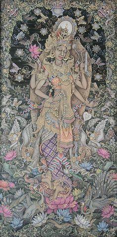 saraswati (balinese traditional painting)