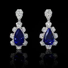 18K WHITE GOLD DIAMOND & TANZANITE DANGLE EARRINGS in Jewelry & Watches, Fine Jewelry, Fine Earrings | eBay