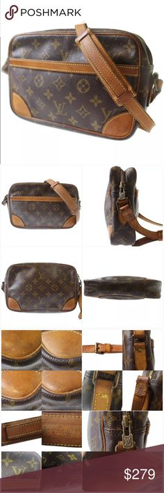 """💯Authentic Louis Vuitton Trocadero 23 cross body Cross body vintage!  Inside looks good only few stains and scratches. Pockets are peeling and sticky - suggestion to keep it close or repair.  Straps and leather trims have stains, show wear, turned into honey patina and few cracks. Monogram canvas is intact.  Measurements: 9.2W x 6.1H x 2.3D"""" Straps: 42.1-48.8"""" Date code: 862 made in France in 1982 Louis Vuitton Bags Crossbody Bags"""