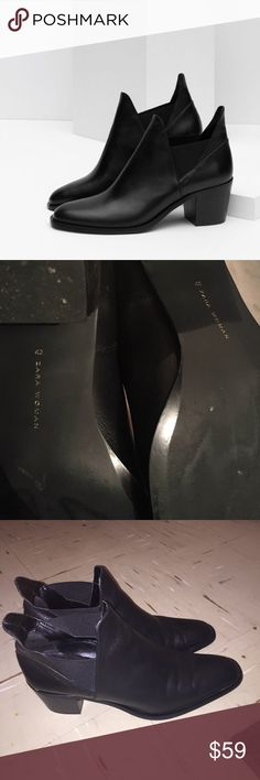 Zara ankle boots Zara black leather ankle boots . Worn three times however the boots are still in good condition . Very Small crease on the boots please check photos . Super chic . Looks great with leggings / jeans , shorts , and a dress . Retail price was $159.99 !! NO TRADE  . True size 11 . Euro Zara size 42 which is a true U.S size 11 . Offers are welcome Zara Shoes Ankle Boots & Booties