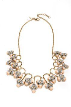 Lele Sadoughi 14-karat gold-plated brass, resin and crystal bib necklace.