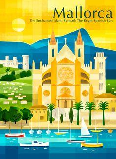 Retro style Mallorca poster by Michael Crampton