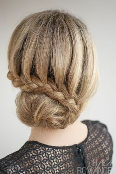 Hair Romance - 30 Buns in 30 Days - Day 7 - lace braided bun hairstyle If you have long hair, put it up into a ponytail as high as you can o. French Braid Hairstyles, Pretty Hairstyles, Summer Hairstyles, Wedding Hairstyles, Lace Braid, Bun Braid, Braided Updo, Bun Updo, Hair Romance