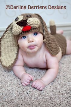 SOOOO Cute! Baby Puppy Hat and Diaper Cover Crochet Pattern PDF