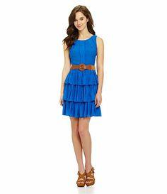 Available at Dillards.com #Dillards Cute electric blue ruffled dress