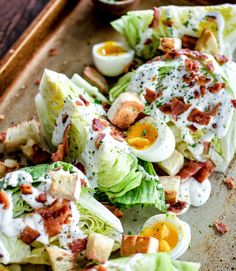 Iceberg Wedge Salads with Soft-Boiled Eggs and Grilled Bacon - A recipe to feed a hungry crowd! It packs a lot of flavor and a crisp freshness!
