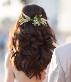 wedding-hairstyle, long dark brown hair, wedding hair, flower crown