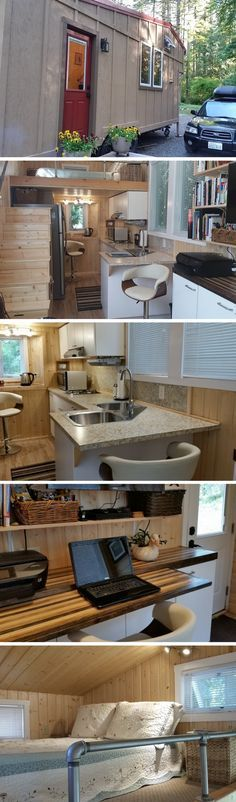 A 243 sq ft tiny house with a full kitchen, bathroom, loft bedroom, and a…