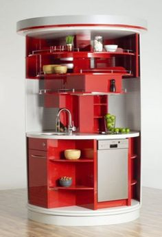 A tiny, self-contained, totally cylindrical kitchen module.