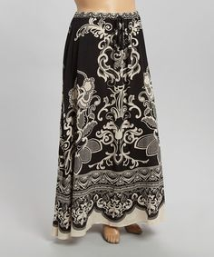Look what I found on #zulily! Black & Khaki Flourish Maxi Skirt - Plus by Flying Tomato #zulilyfinds