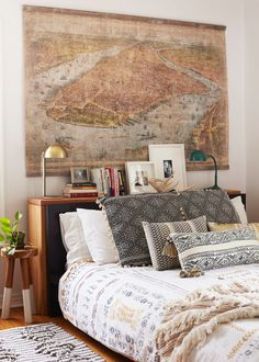 Shop Nate Berkus Over Tufted Shage Stripe Rug, MALM Bed frame, high - Queen, Luröy - IKEA, Similar: Catamarca Duvet, Woven Texture Olong Decorative Pillow, Tasseled Pointilliste Pillow, Mid-Century Inspired Metal Desk Lamp, Dip-Dyed Stools, Moroccan Wedding Throw and more