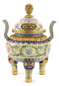 AN 'IMPERIAL TRIBUTE' YELLOW-GROUND CANTON ENAMEL TRIPOD INCENSE BURNER MARK AND PERIOD OF QIANLONG