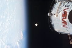 Earth, Moon, Hubble NASA Space Shuttle Discovery's crew witnessed this bright full moon from orbit during a December 1999 mission that included servicing the Hubble Space Telescope (the top . Hubble Space Telescope, Telescope Images, Nasa Space, Institute Of Physics, Nasa Missions, Hubble Images, Space Shuttle, Space Travel, Our Planet