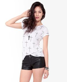 Linen-Blend Cross Print Tee Black and White Size Small $14.80