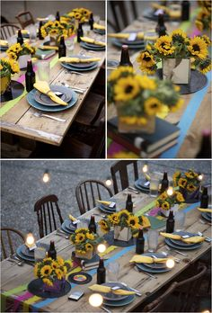Casual, fun table setting for outdoor party #sunflowers #tablescape
