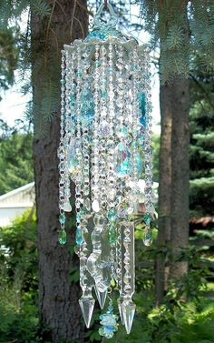 Jeweled Sea Gypsy Antique Crystal Wind Chime by sheriscrystals, $189.95