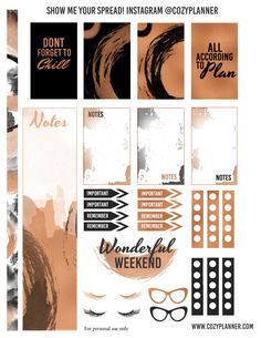 Free Printable Bronze and Black Planner Stickers for Happy Planner - Cozy Planner Blog