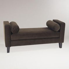 One of my favorite discoveries at WorldMarket.com: Chocolate Velvet Taylor Bench with Bolsters, for my entry way.
