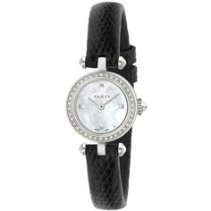 4ee72a48a5e Gucci Diamantissima Ladies Sapphire Diamonds White Mother Of Pearl Dial  Black Leather Strap Watch
