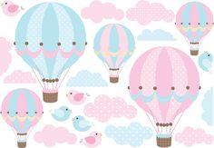 Adesivo balões rosa/azul | Quarto de Criança - Lojadecoreacasa | Elo7