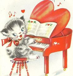 Valentine kitty with piano Valentine Images, My Funny Valentine, Vintage Valentine Cards, Cat Valentine, Vintage Greeting Cards, Valentine Day Cards, Vintage Postcards, Happy Valentines Day, Valentines Illustration