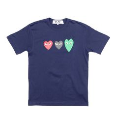 """Play Comme des Garcons Navy Triple Heart Men's Tee NWT. Premium cotton tee from the iconic CDG Play collection features a high quality print of the Play Triple Heart logo on the chest. 100% cotton. 100% authentic, purchased ABOVE retail in Japan. Made in Japan. Men's XL approximately measures: 43"""" chest. 19""""shoulder width. 8"""" sleeve length. 29"""" back length. Neck is 16.5"""". ❌❌PRICE IS FIRM❌❌ Comme des Garcons Tops Tees - Short Sleeve"""