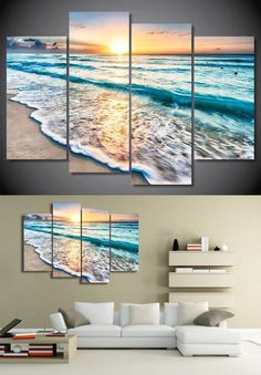4 Panel Free shipping seascape sunset beach sand print painting on canvas Wall Art Picture Home Decoration/we319