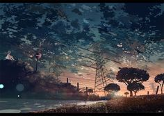 #Shinkai Makoto#Sunset by the river -Shinkai Makoto Style